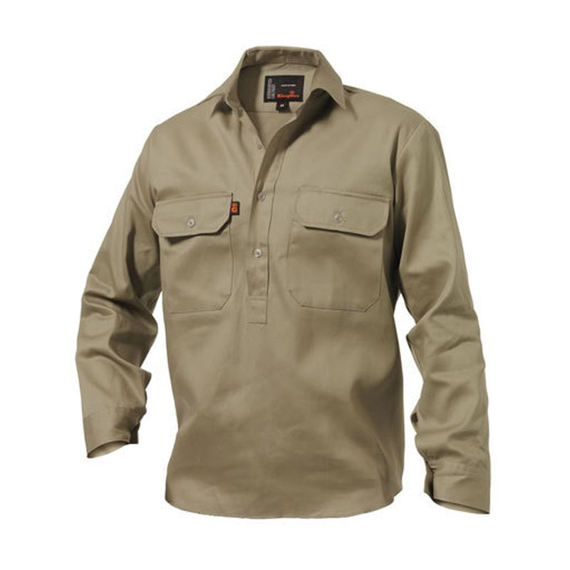 King Gee Men S Cotton Drill Closed Front Work Shirt